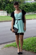 aquamarine dress - black jacket - black vintage purse