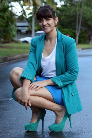teal asos blazer - sky blue asos shorts - turquoise blue zu heels