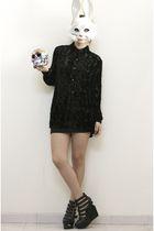 black skirt - black fete des morts blouse - black Jeffrey Campbell shoes