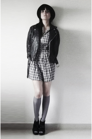 maxtlii dress - gray socks - black shoes - black hat - black jacket
