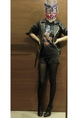 t-shirt - jacket - guess vintage shorts