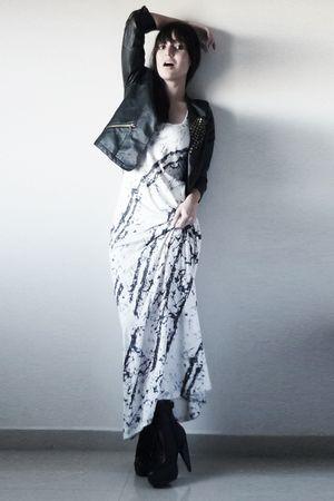 black boots - white dress - black jacket