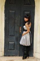 silver dress - black tights - black shoes