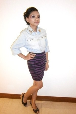 light blue jacket - purple Magnolia skirt