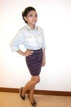light blue jacket - purple Magnolia skirt