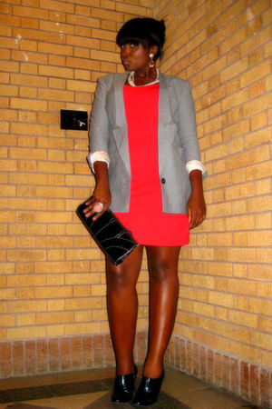 gray H&M blazer - black Kenneth Cole shoes - red H&M dress