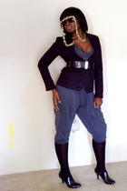 black H&M blazer - black Kenneth Cole shoes - blue panties - black NY&CO belt