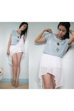 aquamarine sheer random brand blouse - white DIY skirt