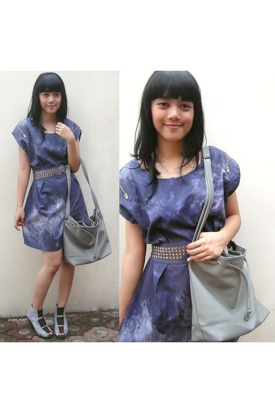 blue dress - blue belle shoes - gray accessories