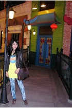 black jacket - yellow Graniph t-shirt - blue Gaudi jeans - brown belle shoes - b