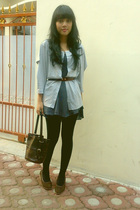 brown wedges shoes - black tights - gray stripes cottonink cardigan