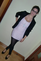 pink H&M coat - black Zara leggings - black Zara blazer - silver Stradivarius ne