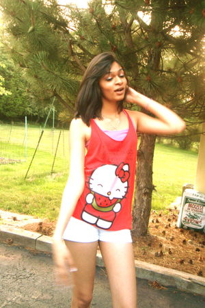 white hollister shorts - red Forever21 top - red