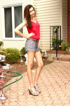 Steve Madden wedges - Forever 21 shorts - Forever 21 top