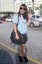 jacket - dress - boots - purse - MLNW glasses