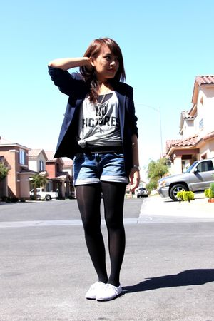 blue Forever21 blazer - gray Victorias Secret top - Zara shorts - black stocking