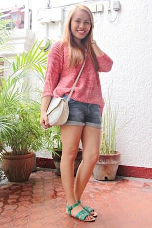 Zara sweater - christian dior bag - Zara shorts - Topshop flats