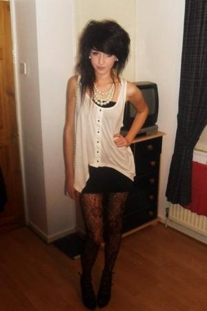 white Topshop cardigan - black Zara dress - black tights - black Matalan shoes -