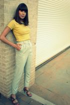 gold American Apparel shirt - green American Apparel pants - blue boutique neckl