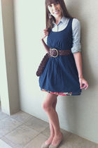 blue Target dress - blue abercrombie and fitch shirt - brown abercrombie and fit