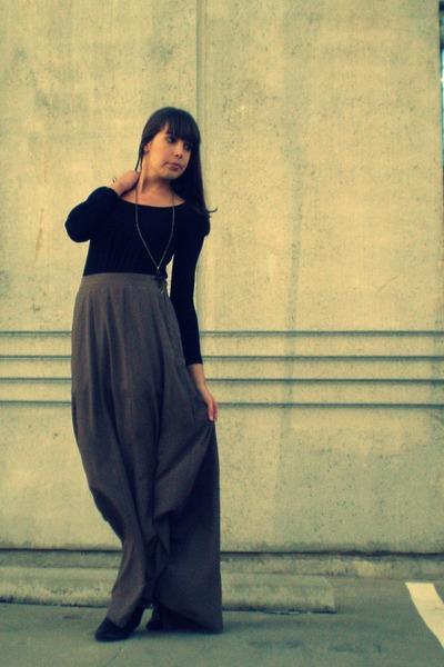 light brown Forever 21 skirt - black Shoe Department boots