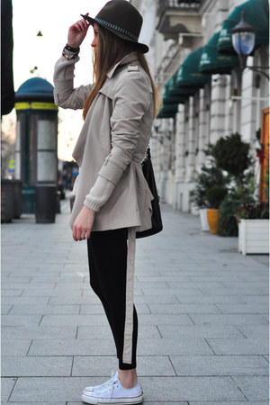 beige new look coat - dark green Zara hat - white Converse sneakers
