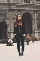 black Stradivarius boots - black Zara coat - black Zara panties