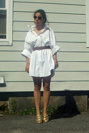 Betsey Johnson sunglasses - Huge mens shirt dress - in love with this belt - Eas