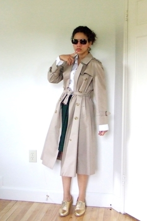 JCrew shirt - thrifted skirt - EasySpirit shoes - Burberry jacket - Ermenegildo 