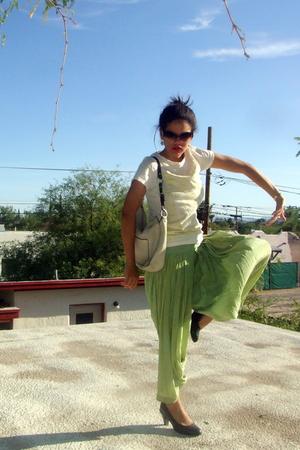 green harem dhotti Silk pants - black Sofft shoes - beige beat up coach purse