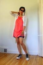 James Perse sweater - necklace - free people dress - American Eagle skirt - Conv