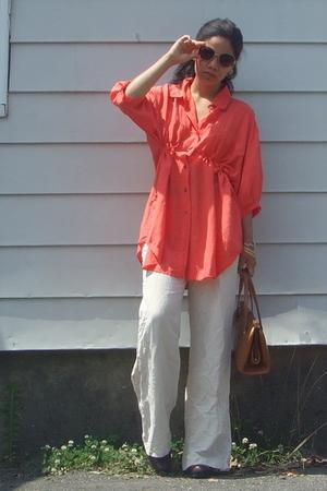 DIY Silk blouse - Target pants - vintage purse - Betsey Johnson sunglasses - Ken