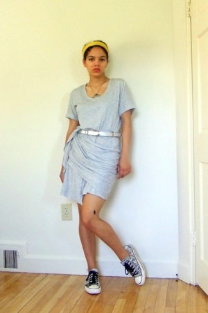 Gap dress - Ermenegildo Zegna sunglasses - Gap belt - thrifted necklace - Conver