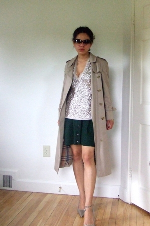 Burberry jacket - JCrew vest - Re-Made skirt - Cole Haan shoes - Cole Haan sungl
