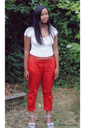 white top top - ruby red chino pants