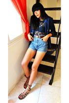 blue H&M blazer - blue Shana shirt - blue vintage shorts - brown vintage belt -