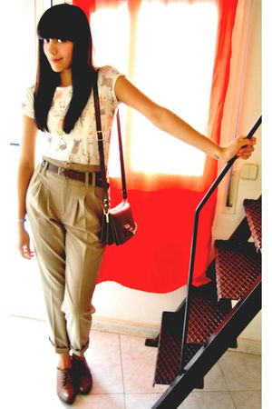 white Zara shirt - brown vintage belt - beige Zara pants - brown Zara shoes - br