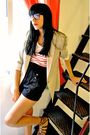 Beige-zara-blazer-white-pull-bear-t-shirt-black-zara-shorts-brown-blanco-s