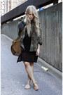 Black-cheap-monday-dress-green-camo-second-hand-jacket