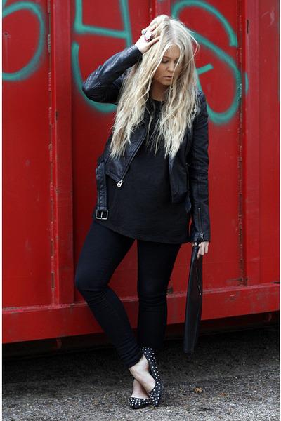 black Dr Denim jeans - black Topshop jacket - black modekungense bag