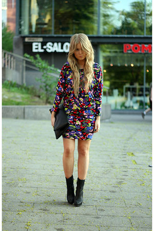 black Zara boots - purple asos dress - black Monki bag