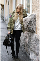 army green camo ctrl coat - black Monki boots - black Dr Denim jeans