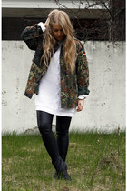 green camo second hand coat - black Monki boots - white Nellycom sweater