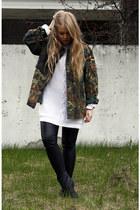 green camo second hand coat - black Monki boots - white Nellycom sweater