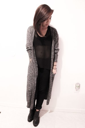 black Target boots - charcoal gray cotton on cardigan - black Accessorize blouse