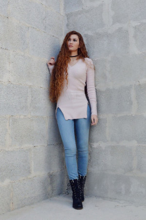 black Globo boots - sky blue H&M jeans - light pink Tally Weijl sweater
