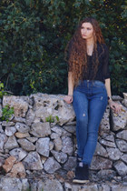 black Terranova shirt - blue Tally Weijl jeans - black Globo sneakers