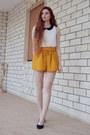 Yellow-bershka-shorts-white-bershka-blouse-black-primadonna-heels