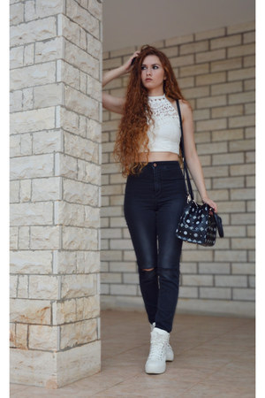 white Primadonna sneakers - dark gray H&M jeans - black Lancetti bag
