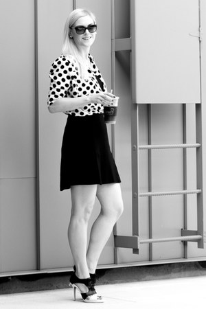 white silk polka dot blouse - black cutout heels